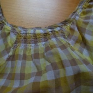 Lucy Tops - LUCY XS Yellow Gingham Peasant BoHo Summer Top